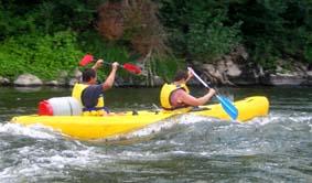 Canoe sur l'Allier dans les vagues
